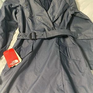 North face trench coat new with tags denim blue
